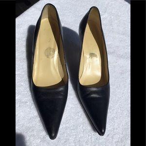 Façonnable Black Leather 3 inch Heel 7.5 Narrow
